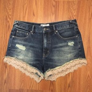 Distressed Free People Shorts with Lace Trimming